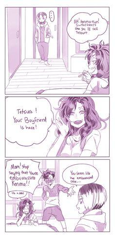 #Haikyuu comic Kenma, Kuroo's mom & Kuroo (Twitter: mookie000)