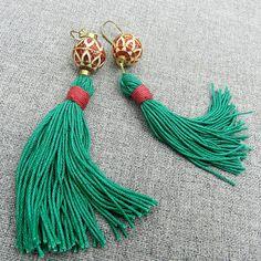 Tribal Tassel Earrings Long  Emerald Green Christmas Earrings Holiday jewelry by osofreejewellery