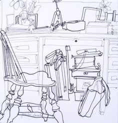 A crowded interior space - AP Drawing assignment for Breadth - contour only?