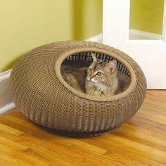 Herzher's Cat Pod Decorative Cat Bed I Love Cats, Crazy Cats, Cool Cats, Designer Dog Beds, Matou, Cat Furniture, Rattan Furniture, Pet Beds, Pet Gifts