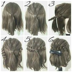 Half Up Hairstyles For Brief Hair # Hair # Coiffure # Coiffure Haircourt # Coiffure Hairlong Half Up Half Down Short Hair, Half Up Half Down Hair Tutorial, Easy Hairstyles For Long Hair, Amazing Hairstyles, Braided Hairstyles For Short Hair, Homecoming Hairstyles Short Hair, Trendy Hairstyles, Easy Elegant Hairstyles, Simple Hairstyles For School