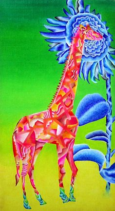 "Yasuaki Okamoto ""Giraffe with Flower"", 2008, oil on canvas - Originally from Japan, Yasuaki Okamoto is now based in New York. He previously lived in Tokyo, London, Barcelona and Montreal. He draws inspiration for his works from his travels and his paintings possess a storybook quality, consisting of an abundance of vivid colors / http://www.yasuaki.info/index.html"