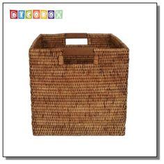 DecoBox鄉村風藤編大正方籃 (書報雜誌籃,收納籃,洗衣籃, 藤籃,麵包籃)