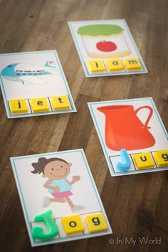 letter j - CVC Word Builders with Scrabble letter tiles. Great for children who are beginning to read and learn best through hands on activities. (Link to free printable). Kindergarten Centers, Preschool Letters, Kindergarten Literacy, Alphabet Activities, Early Literacy, Literacy Activities, Hands On Activities, Literacy Centers, Teaching Resources