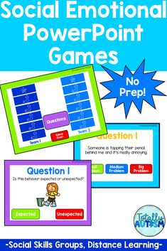 These social emotional games are perfect for distance learning, SMART board activities, or social skills group. Students work on identifying size of the problem, identify emotions, and conversational skills Smart Board Activities, Powerpoint Games, Student Behavior, Student Work, Social Skills, Spice Things Up, Lesson Plans, Distance, Students