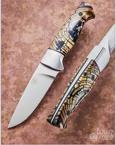 Another great photo by @sharpbycoop This is a hunter in CPM154 with a tapered tang, 416 bolsters, crosscut mammoth ivory on G10 liners and carbon fiber pins.    This knife will be on my table at the Lone Star Knife Expo in Dallas.    #knifeporn #customknives #handmadeknives #finefolders #texasknifemakersguild #usnstagram #edc #knifemaker #hunter #mammoth #fixedblade #lonestarknifeexpo