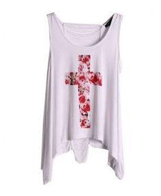 Floral Cross Print Tank with Irregular Hem - T-shirts & Tanks - Clothing