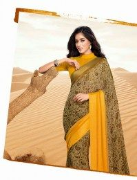 Traditional Style Yellow Color Saree