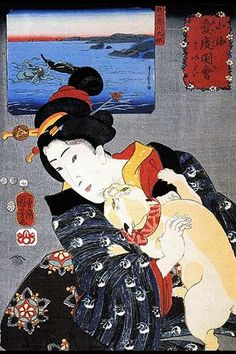 A cat climbs up a well dressed Japanese woman on a kimono. A print in the background shows a giant octopus in a battle with a fisherman.