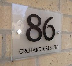 House Number Sign Plaque Modern Frosted Glass Effect Acrylic - Choose Your Size!