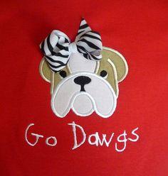 Gift Idea for Tessa ~ Custom Appliqued Bulldog Shirt by nwalkercreations on Etsy, $20.00