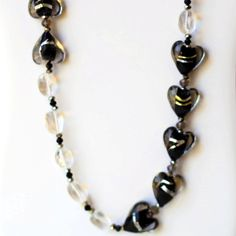 Sparkling Long Black Lampwork Hearts Art Glass by ALFAdesigns, $69.99