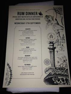 Rum Dinner at Angel's Cut by The Trustee Menu