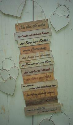 https://www.facebook.com/Puenktchenherz-1514083225528083/  und Besuch meinen Dawanda-Shop: http://de.dawanda.com/shop/Gifts-from-the-heart-by-Sunny  Dekoschild Du bist ür mich