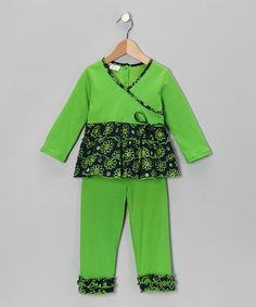 Take a look at this Green Flower Surplice Tunic & Leggings - Girls by Calico Monkey on #zulily today!