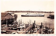 Princess Elaine in Nanaimo Harbour circa Real photo postcard. Paris Skyline, New York Skyline, Canadian Pacific Railway, Vancouver Island, Photo Postcards, British Columbia, West Coast, Vintage Photos, Boats