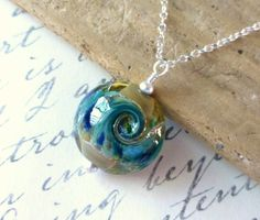 Wave Necklace Beach Jewelry Ocean Wave Lampwork by JBMDesigns on Etsy $32.00 **Click picture for more details**
