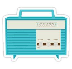 Retro Radio Design - available on throw pillows, clocks, stickers and more! #retro #vintage #radio #redbubble