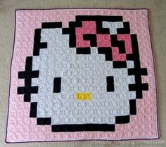 Made to Order--Crochet 8-Bit Pixel Art Kawaii Throw Blanket--inspired by Hello Kitty
