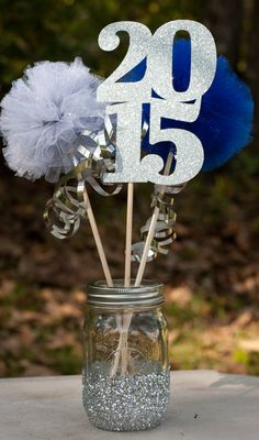 Class of 2015 Graduation Party Centerpiece Table Decoration You Choose Colors