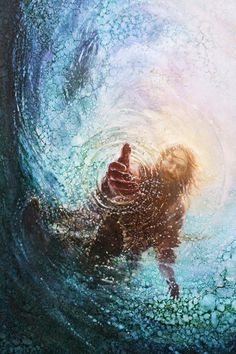 picture of jesus christ with his hand reaching into the water to save peter reaching through the water the hand of god painting Images Du Christ, Pictures Of Jesus Christ, Jesus Pics, Jesus Artwork, Jesus Christ Painting, Paintings Of Christ, Jesus Wallpaper, Jesus Rettet, Jesus Help