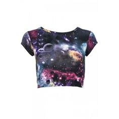 Blue & Purple Galaxy Top (21 BRL) ❤ liked on Polyvore featuring tops, t-shirts, shirts, crop tops, blusas, women's tops, galaxy shirt, blue crop top, crop shirt and purple crop top