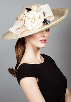 Rachel Trevor Morgan - Natural straw sidesweep hat with hand tooled straw camellias