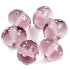 Lampwork Glass Bead Pale Amethyst Purple Handmade Shiny Silver 046gfs