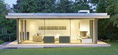 contemporary garden room with fireplace