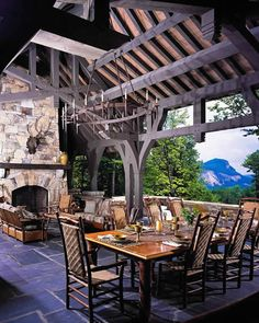 Outdoor dining pavilion, Sagee Manor (Highlands, North Carolina).