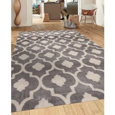 Moroccan Trellis Contemporary Gray/Yellow 5 ft. 3 in. x 7 ft. 3 in. Indoor Area Rug - 17681095 - Overstock.com Shopping - Great Deals on 7x9 - 10x14 Rugs