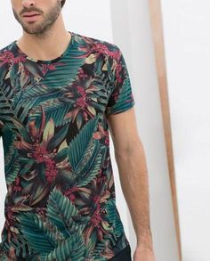 649dff33d6f t-shirt floral mens t-shirt blue shirt green palm leaves menswear summer  tropical
