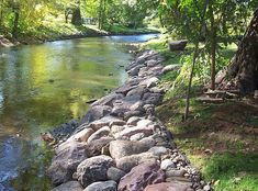 River & Streambank solutions by Cold Stone Shorelines & Retaining Walls Lake Landscaping, Landscaping Retaining Walls, Landscaping With Rocks, Landscaping Ideas, Backyard Water Feature, Ponds Backyard, Backyard Patio, Backyard Ideas, Pond Design