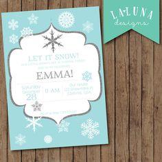 Winter Birthday Invitation Snowflake Birthday by LaLunaDesigns