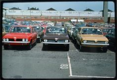 New Triumph Dolomite's outside the plant at Canley in the Assembly Line, Retro Cars, Coventry, Old Cars, Motor Car, Concept Cars, Jaguar, Wonders Of The World, Volkswagen