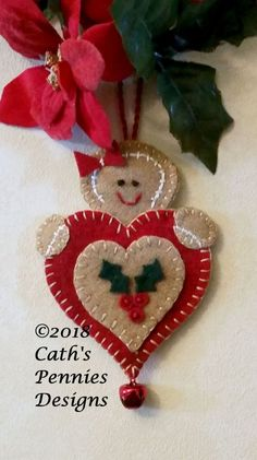 Wool Kit for Let It Snow Heart Ornament Fabric Ornaments, Handmade Ornaments, Handmade Christmas, Christmas Diy, Beaded Ornaments, Felt Christmas Decorations, Felt Christmas Ornaments, Felt Crafts, Holiday Crafts