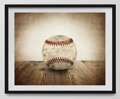 """Vintage Baseball Hardball on Vintage Background, Fine Art Photography Print, Sports Decor, Vintage Baseball Art, Baseball Photography. An unframed fine art photo print. All my photos are printed with love on premium finish Kodak Endura Lustre photo paper that won't curl or yellow over time. These are real photographs, not inkjet prints. It will be shipped safely to you in rigid and moisture resistant packaging. SIZES available (Above choose """"select options"""" button then """"select size"""")…"""