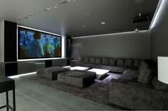 Huge Concrete House Design With Black Interior And Exterior   Cinema