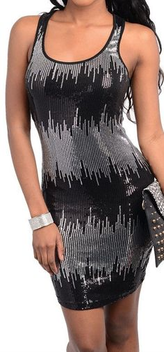 Sleeveless Cutaway Shoulders Racerback Sequin Silver/Black Bodycon Party Dress. Sold for $14.99