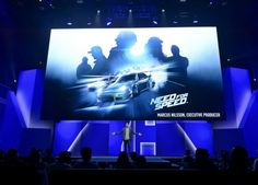"""Marcus Nilsson, Executive Producer for """"Need for Speed"""" video game speaks during Electronic Arts media briefing before the opening day of the Electronic Entertainment Expo, or E3, at the Shrine Auditorium in Los Angeles, California June 15, 2015."""