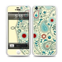 SkunkWraps Protection Kit - White Bumper Case, Skin, Screen Protector for Apple iPhone 5 - Vintage Paisley
