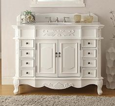 "Follow us to http://freecycleusa.com 42"" Traditional Style Antique White Morton Bathroom sink vanity Model CF-2815W-AW-42"