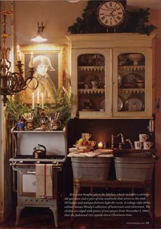 Wendy Addison - Victoria Magazine 2011 love the painting of Napoleon in the kitchen! Must be a french kitchen, lol George Washington works for me Cozy Cottage, Cottage Style, French Cottage, Old Stove, Victoria Magazine, French Country Decorating, Country French, French Decor, French Style