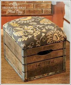 Repurposed old milk crate, fun fabric patterns against wood, upholstery, DIY furniture.