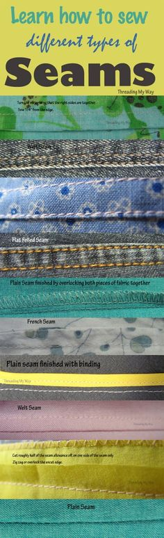 Different Types of Seams Learn how and when to sew different types of seams plain welt french flat felled Threading My Way The post Different Types of Seams appeared first on Sewing ideas. Sewing Lessons, Sewing Class, Love Sewing, Sewing Basics, Sewing Hacks, Sewing Tutorials, Sewing Tips, Sewing Ideas, Basic Sewing