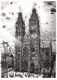 Steampunk'd is the best place where you can find images, videos, photos, books and information related to the steampunk, dieselpunk and atompunk subcultures.Cover image by Architecture Drawing Art, Architecture Details, Architecture Sketchbook, Mode Steampunk, Illustration Art, Illustrations, Matte Painting, Black And White Illustration, Retro Futurism