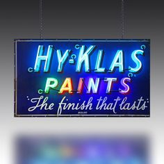Vintage neon Hy Klas Paints sign from The Games Room Company's Lighting selection Vintage Neon Signs, Painted Signs, Game Room, Cinema, Bobs, Painting, Design, Games, Products