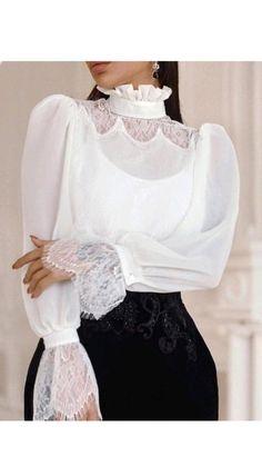 Sleeve Designs, Blouse Designs, Leg Of Mutton Sleeve, High Neck Blouse, Ruffle Neck Blouse, Lace Embroidery, Looks Style, Elegant Woman, Pattern Fashion