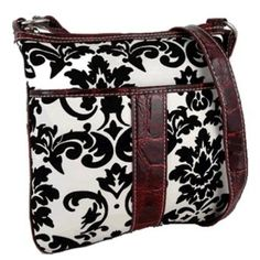 ac14b87e9e Hipster Adjustable Strap Cross Body Velvet Damask Print Purse Black White  Red Hipster Purse