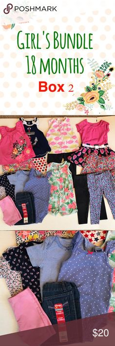 Girl's 18 Months Bundle II ~ 17 Pieces 17 pieces ~ All good condition No rips or stains ~ 2 shorts/shirt sets, 4 onesies, 2 shorts (1 NWT), 3 leggings, 1 romper, 1 shirt, 1 dress, 1 Tunic w/shorts Matching Sets